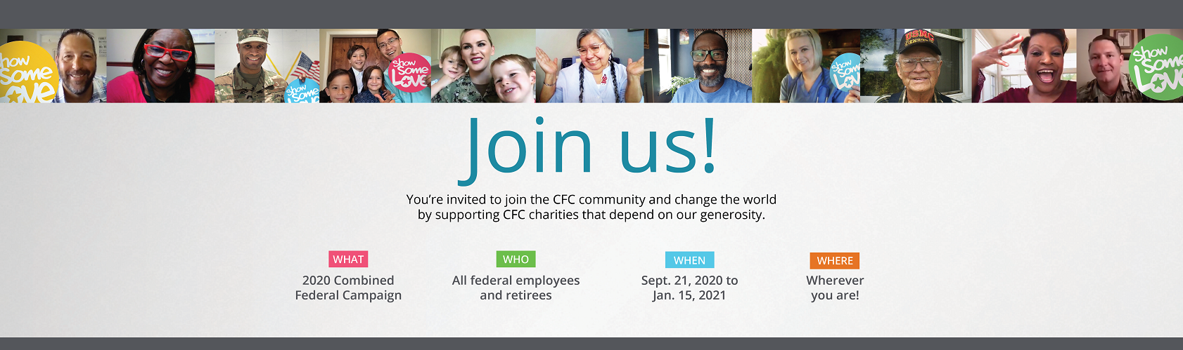 Banner with photos of federal employees and text about joining the CFC community